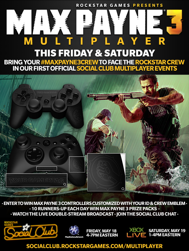 Max Payne 3 Social Club Multiplayer Event
